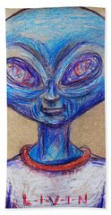Hand Towel featuring the drawing The Alien Is L-i-v-i-n by Similar Alien