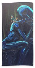 Hand Towel featuring the painting The Alien Thinker by Similar Alien