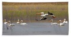 The American White Pelicans Bath Towel by Ernie Echols