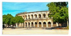 The Amphitheatre Nimes Hand Towel by Scott Carruthers