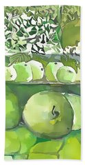 Bath Towel featuring the painting The Apple Closet by Mindy Newman