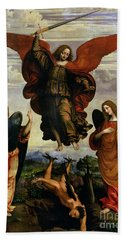 The Archangels Triumphing Over Lucifer Hand Towel