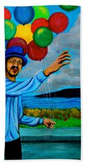 Hand Towel featuring the painting The Balloon Vendor by Cyril Maza