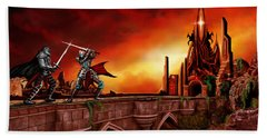 Hand Towel featuring the painting The Battle For The Crystal Castle by James Christopher Hill