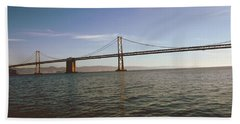 Hand Towel featuring the mixed media The Bay Bridge- By Linda Woods by Linda Woods