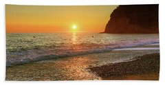 the beach and the Mediterranean sea in Montenegro in the summer at sunset Bath Towel