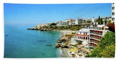 Hand Towel featuring the photograph The Beach - Nerja Spain by Mary Machare