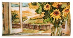 Bath Towel featuring the painting The Beach Sunflowers by Winsome Gunning