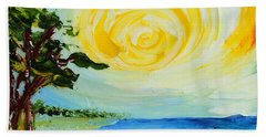 Bath Towel featuring the painting The Beach by Teresa Wegrzyn
