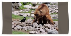 The Bear And The Crow By Suze Hand Towel
