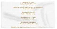 The Beatitudes Gospel Of Matthew Bath Towel