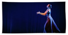 Bath Towel featuring the photograph The Beautiful Ballerina Dancing In Blue Long Dress by Dimitar Hristov
