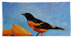 The Bird And Orange Bath Towel by Laura Forde