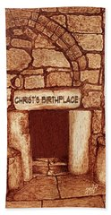 Bath Towel featuring the painting The Birthplace Of Christ Church Of The Nativity by Georgeta Blanaru