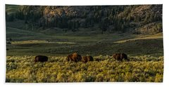 The Bison Rut In Yellowstone Hand Towel by Yeates Photography