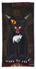 Hand Towel featuring the painting The Black Cat Edgar Allan Poe by Carrie Hawks