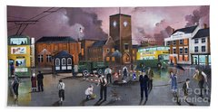 Hand Towel featuring the painting Dudley Trolley Bus Terminus 1950's by Ken Wood