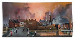 Hand Towel featuring the painting The Black Country Village by Ken Wood