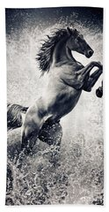 The Black Stallion Arabian Horse Reared Up Hand Towel