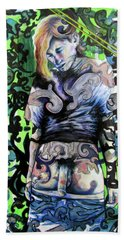 Hand Towel featuring the painting The Blond Bomber  by Rene Capone
