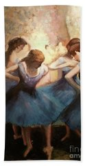 The Blue Ballerinas - A Edgar Degas Artwork Adaptation Bath Towel