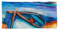 Bath Towel featuring the painting The Blue Boat by Elise Palmigiani