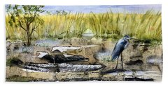 The Blue Egret Bath Towel