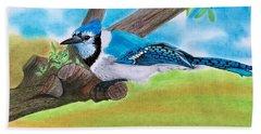 The Blue Jay  Bath Towel by Tony Clark