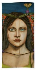 The Book Of Secrets With Paisley Bath Towel by Leah Saulnier The Painting Maniac
