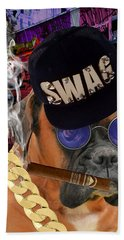 Bath Towel featuring the mixed media The Boss Boxer by Marvin Blaine