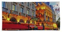 The Boulevard Saint Michel At Dusk In Paris, France Bath Towel by Richard Rosenshein