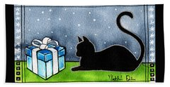 The Box Is Mine - Christmas Cat Hand Towel