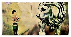 The Boy And The Lion Graffiti Creator,street-art Graffiti,street-art,graffiti Art Street,banksy Art, Hand Towel