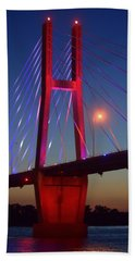 The Bridge And The Sunset Hand Towel by Justin Moore