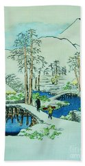 The Bridge At Mishima Hand Towel by Roberto Prusso