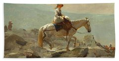 Hand Towel featuring the painting The Bridle Path, White Mountains - 1868 by Winslow Homer