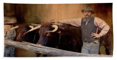 Bath Towel featuring the photograph The Bullock Driver by Wallaroo Images