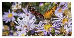 The Butterfly And Flowers Bath Towel by Steven Parker