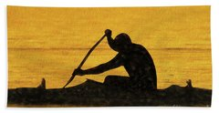 The Canoeist Bath Towel by Scott Cameron