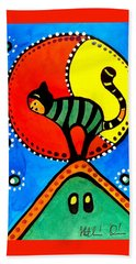 Bath Towel featuring the painting The Cat And The Moon - Cat Art By Dora Hathazi Mendes by Dora Hathazi Mendes