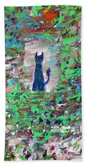 Bath Towel featuring the painting The Cat In The Garden by Fabrizio Cassetta