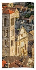 The Cathedral Of St. Stephan In Hvar, Croatia Hand Towel