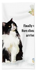 Hand Towel featuring the painting The Cat's Hors D'oeuvres by Colleen Taylor