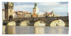 Hand Towel featuring the photograph The Charles Bridge by Wade Brooks