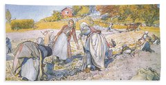 The Children Filled The Buckets And Baskets With Potatoes Hand Towel by Carl Larsson