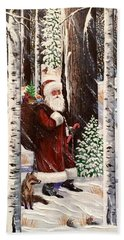 The Christmas Forest Visitor 2 Bath Towel
