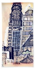 Hand Towel featuring the painting The Chrysler Building An Erotic Fantasy by Carolyn Weltman