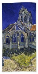 Bath Towel featuring the painting The Church At Auvers by Van Gogh