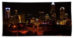 Hand Towel featuring the digital art The City Of Charlotte Nc At Night by Chris Flees