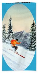 Hand Towel featuring the painting The Clear Leader Skiing by Bill Holkham